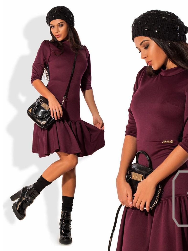 Платье с кружевной спиной и воланом, фиолетовое