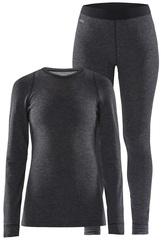 Тёплый Комплект термобелья с шерстью мериноса CRAFT Merino Wool 180 Black Melange женский