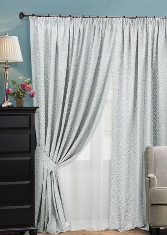 Комплект штор из двухстороннего жаккарда с тюлем Домино серый