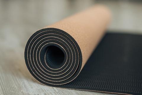 Пробковый коврик для йоги TPE Amra 183*61*0,45 см