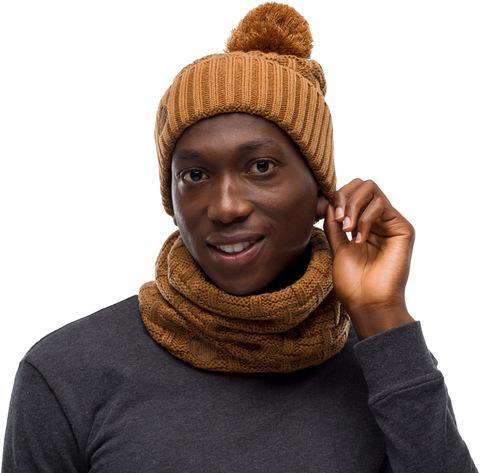 Комплект шапка шарф вязаный с флисом Buff Airon Bronze фото 1