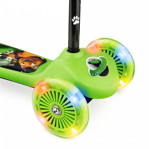 Детский самокат трёхколёсный (зелёный) - светящиеся колёса