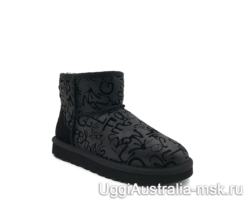 UGG Classic Mini Graffiti Sparkle Black