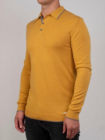 Мужской джемпер желтого цвета из шерсти и шелка - фото 1