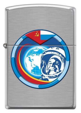 Зажигалка Zippo Гагарин с покрытием Brushed Chrome, латунь/сталь, серебристая, матовая123