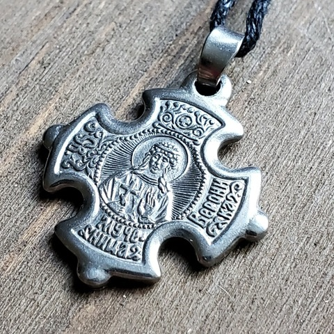 Нательная именная икона святая Вероника (Веринея)  посеребренная с Распятием