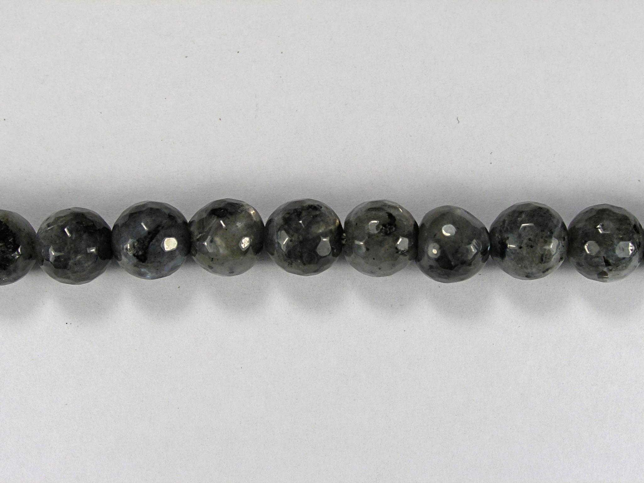 Бусина из лабрадора черного, фигурная, 8 мм (шар, граненая)