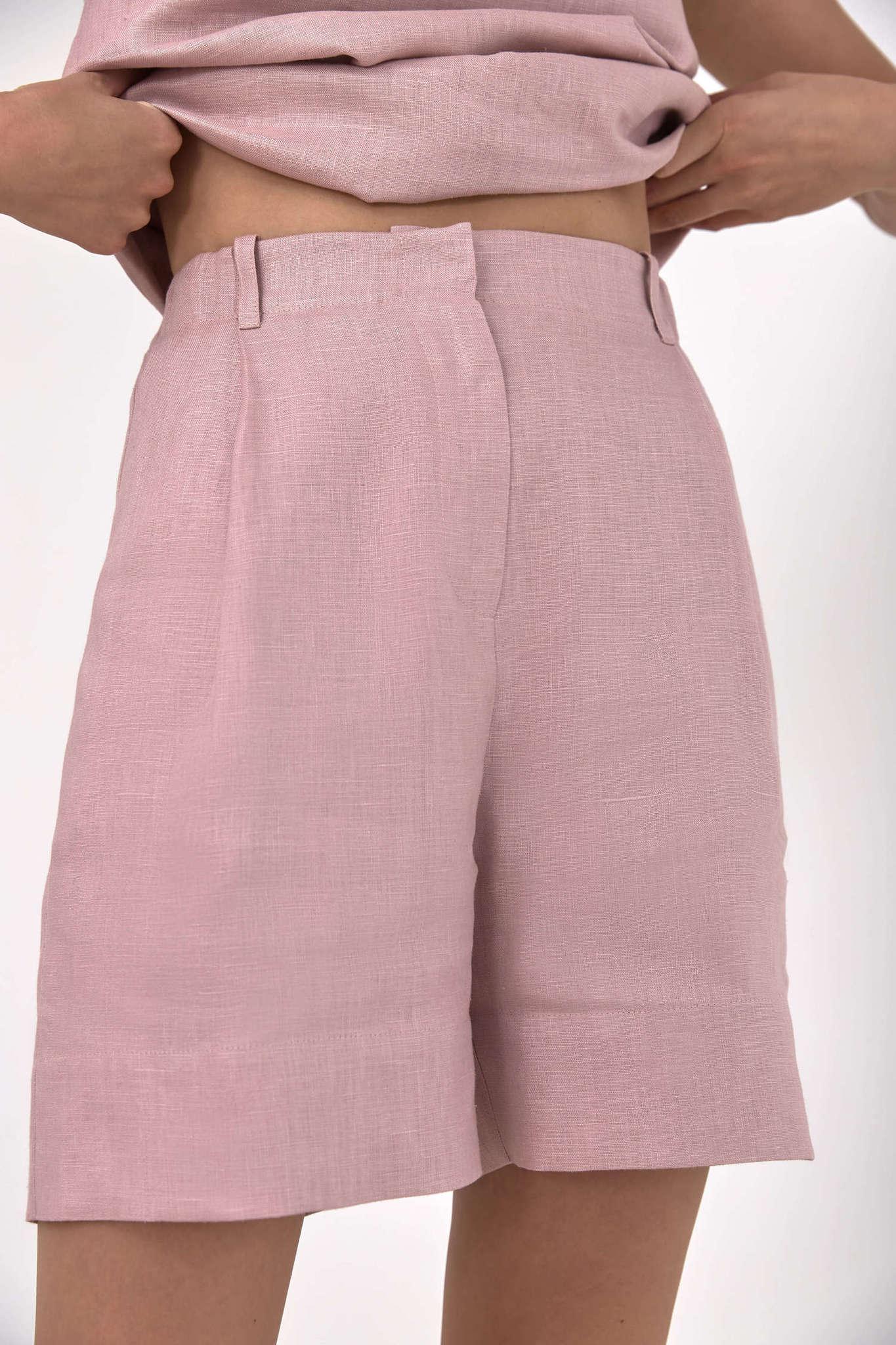 Шорты-бермуды, лен розовая пудра