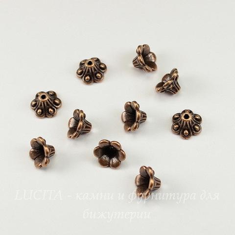 """Шапочка для бусины """"Колокольчик"""" (цвет - античная медь) 10х6 мм, 10 штук"""