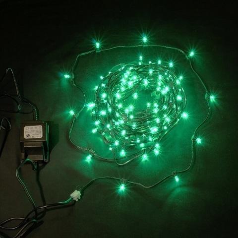 Клип лайт Зеленый, комплект с трансформатором, 30 метров, IP65, темный провод