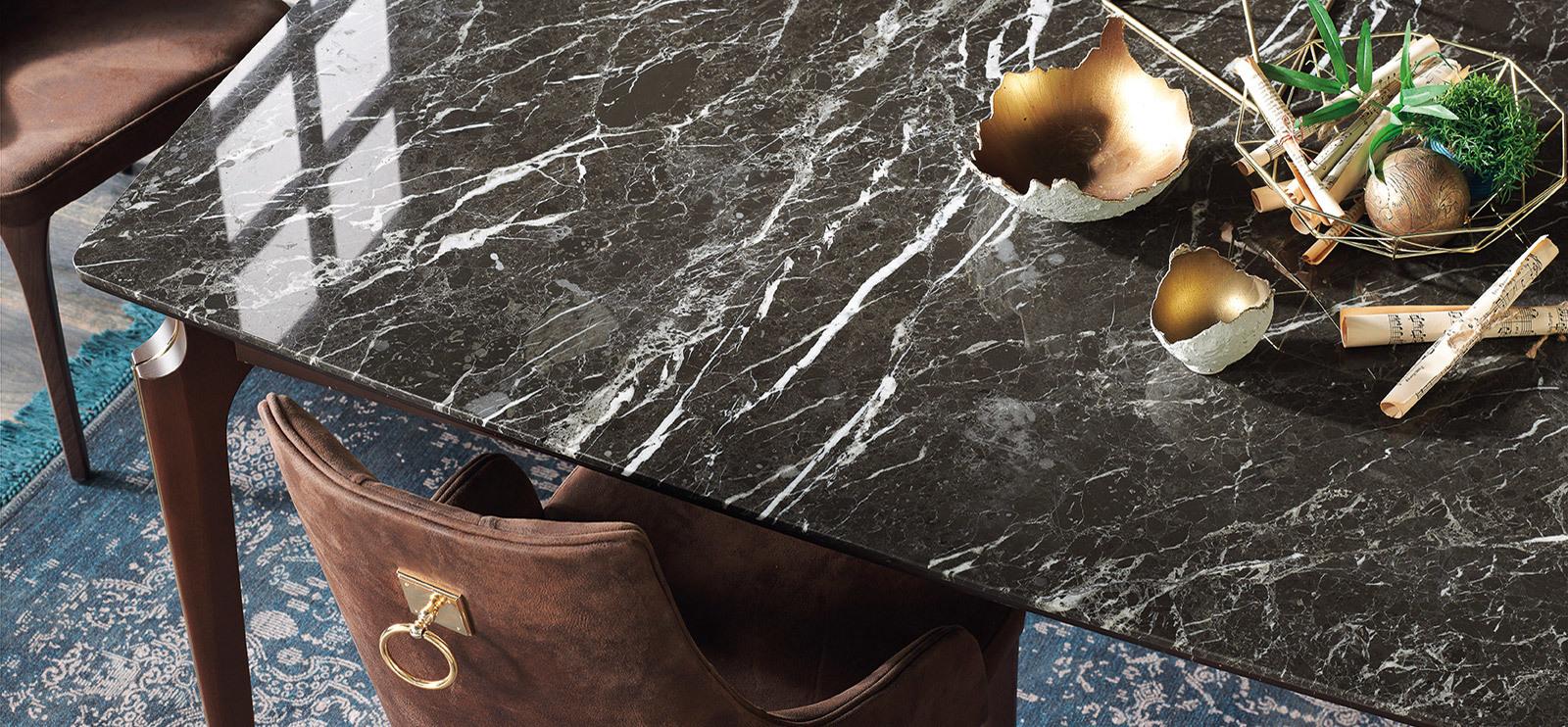 Мраморная столешница стола ELEGANTE темный мрамор