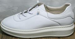 Модные женские белые кеды на высокой подошве Rozen M-520 All White.