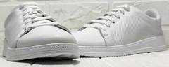 Белые кожаные кроссовки сникерсы с перфорацией женские Evromoda 141-1511 White Leather.