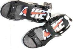 Открытые босоножки сандали кожаные мужские Nike 40-3 Leather Black.