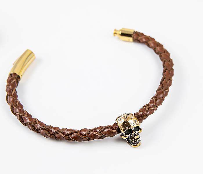 BL785-2 Браслет из шнура ручного плетения с бронзовым черепом фото 02