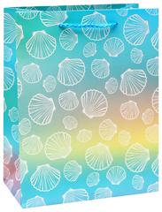 Dream cards Пакет подарочный с матовой ламинацией и глиттером 26.4х32.7х13.6 (L) Морские ракушки. 210 г