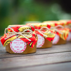 Бонбоньерка с медом на свадьбу, 140 грамм, стиль