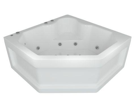 Ванна акриловая угловая Aquatek Лира 148х148см. на каркасе с сливом-переливом