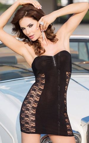 Платье без бретель со стразами на бюсте и кружевными боками - SoftLine Clubbing 1787