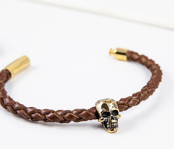 BL785-2 Браслет из шнура ручного плетения с бронзовым черепом фото 03