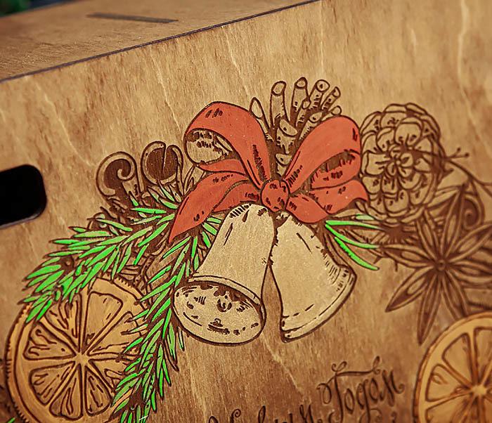 BOX256-2 Большая коробка «С Новым годом и Рождеством!» (25*25*12 см) фото 04
