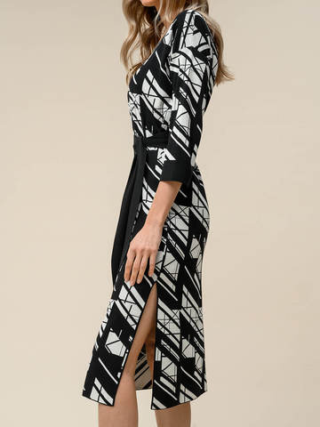 Женское платье черного цвета из шелка и вискозы - фото 5