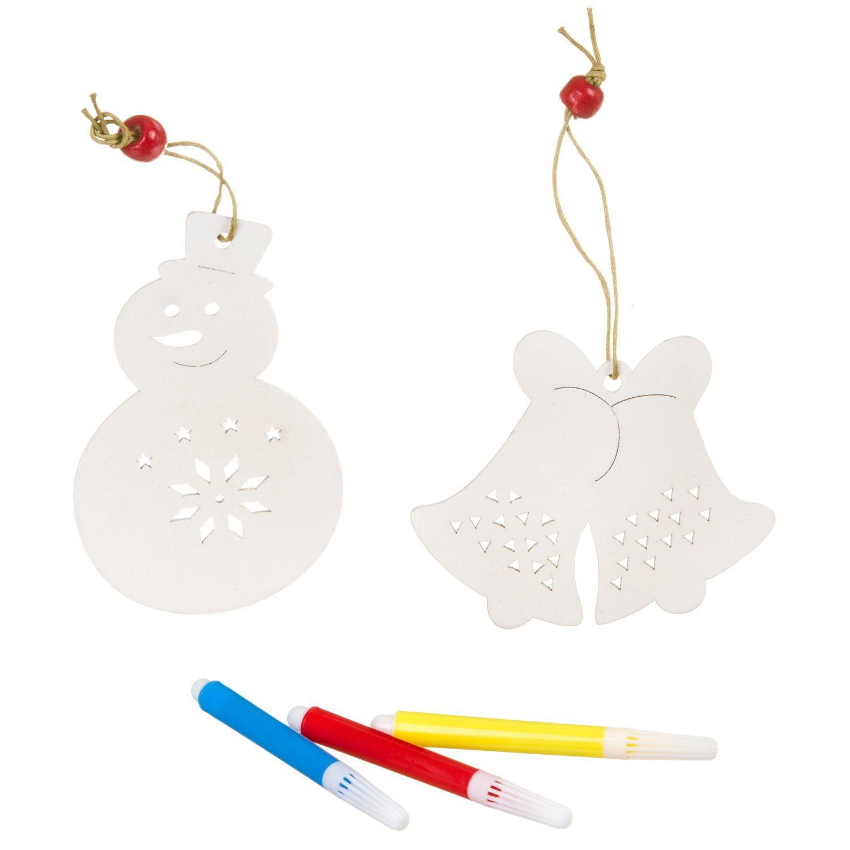 """Набор для творчества Bondibon """"Ёлочные украшения из дерева: Снеговичок, колокольчик"""" с 3 маркерами"""