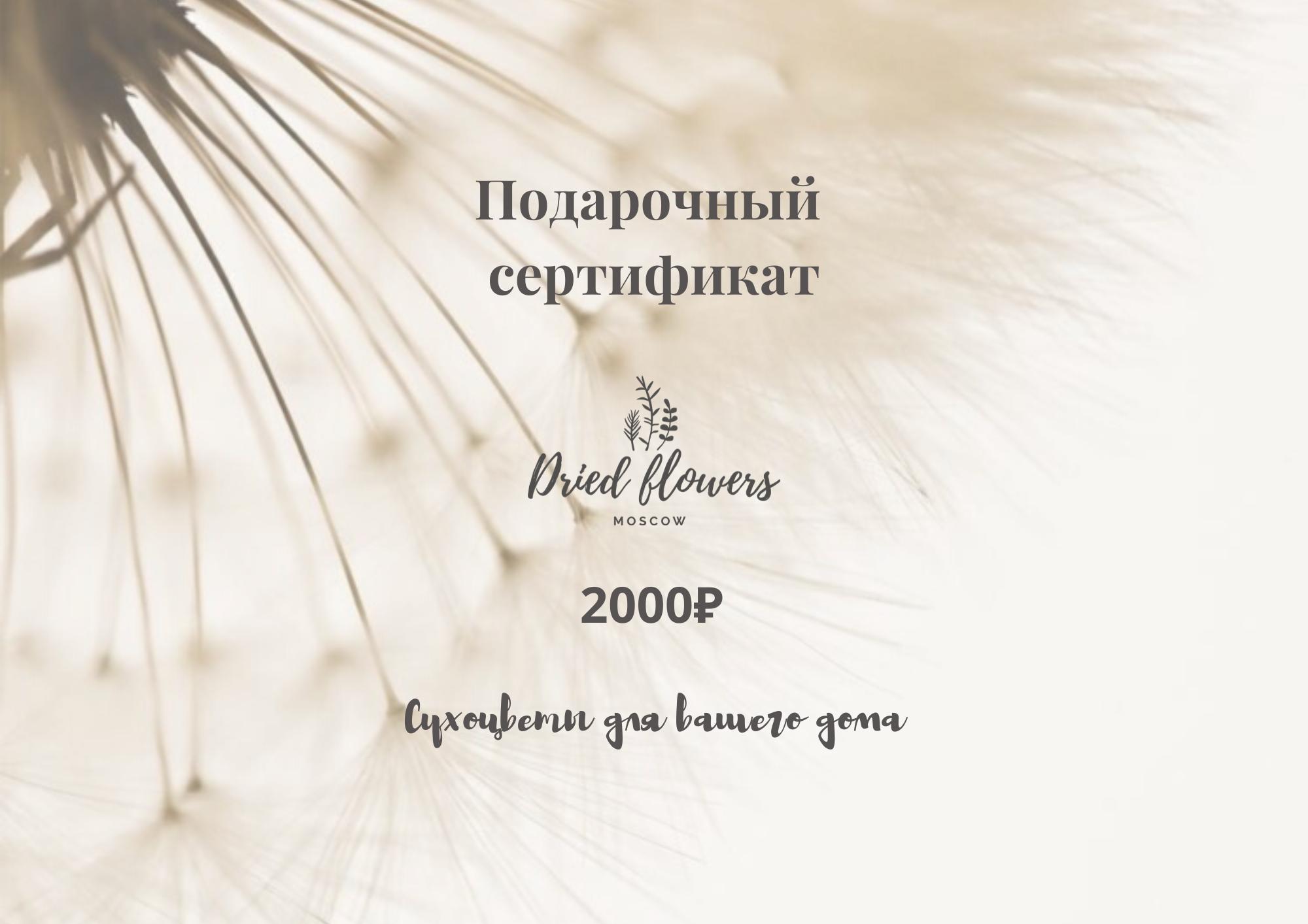 Подарочный сертификат на 2.000 рублей/Dried Flowers Moscow