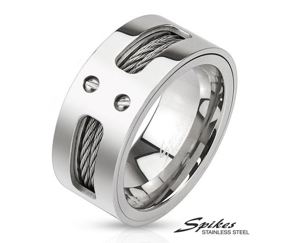 R-M3298 Широкое мужское кольцо «Spikes» из ювелирной стали