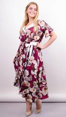 Агата. Легкое платье для больших размеров. Роза бордо.
