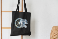 Сумка-шоппер с принтом Знаки Зодиака, Близнецы (Гороскоп, horoscope) черная 001