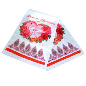 Рушник Лебеди розовый 135см х30см