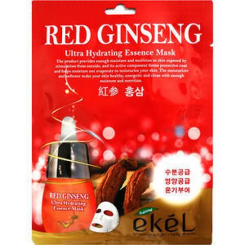 Тканевая маска c экстрактом красного женьшеня EKEL RED GINSENG ULTRA HYDRATING ESSENCE MASK