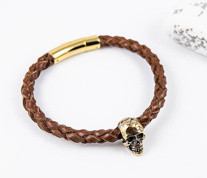 BL785-2 Браслет из шнура ручного плетения с бронзовым черепом фото 05