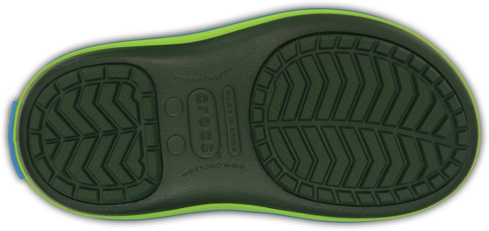 Детские сапожки Kids' Crocband LodgePoint Boot Lime/Forest Green куамть crocs 203509