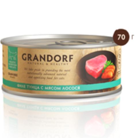 Grandorf филе тунца с лососем в собственном соку 70г