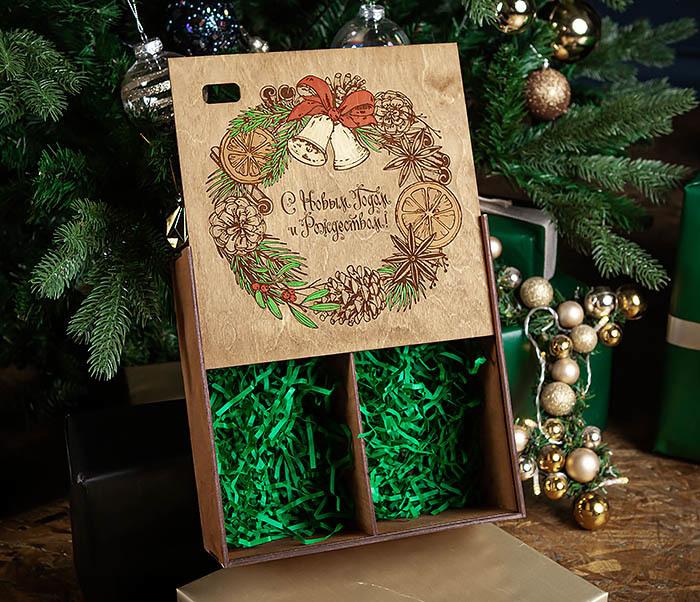 BOX256-2 Большая коробка «С Новым годом и Рождеством!» (25*25*12 см) фото 07