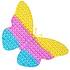 Пупырка вечная антистресс pop it (поп ит) радужная бабочка пастель огромная 40 см