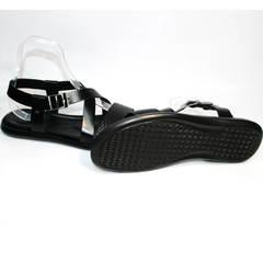 Черные кожаные босоножки Roberto Verbano 74609 Black.