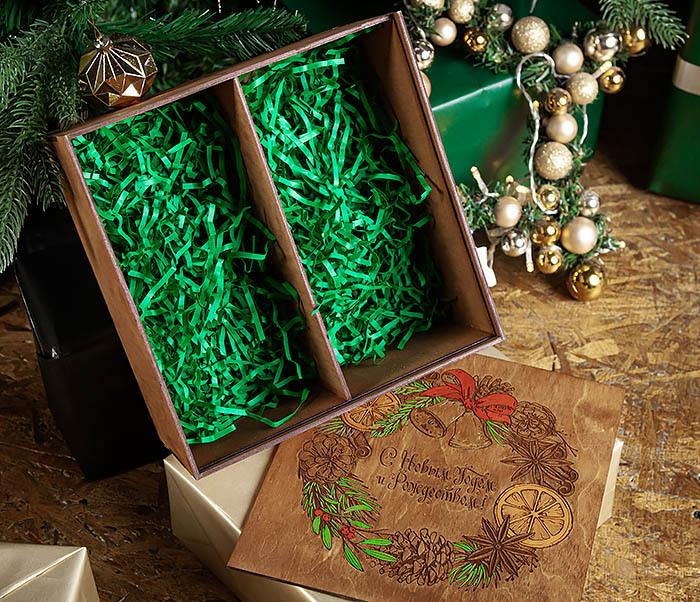BOX256-2 Большая коробка «С Новым годом и Рождеством!» (25*25*12 см) фото 08
