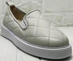Летние слипоны туфли женские на платформе 2,5 см Alpino 21YA-Y2859 Cream.