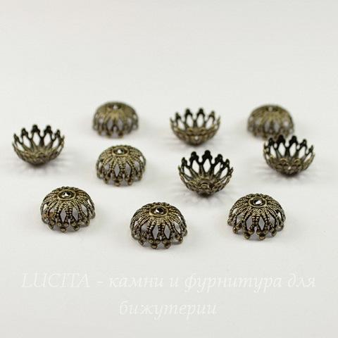 Шапочка для бусины ажурная (цвет - античная бронза) 12х6 мм, 10 штук