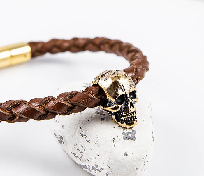 BL785-2 Браслет из шнура ручного плетения с бронзовым черепом фото 07