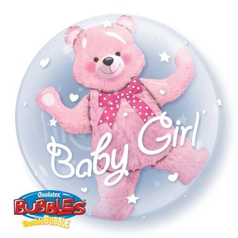 Воздушный шар Деко-бабл Мишка розовый