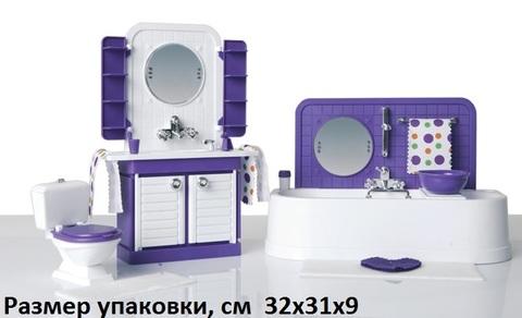 Размер упаковки: 32 х 31 х 9 см. Упаковка: картонная коробка. Размер ванной: 27.5 х 10.5 х 7 см. Размер шкафчика с умывальником: 13.5 х 5.5 х 27 см. Размер унитаза: 10 х 4 х 9.5 см.  Комплектность:  коврик большой - 1 шт., коврик - 1 шт., флакон - 2 шт., пробка к флакону - 1 шт., щетка зубная - 1 шт., стакан - 2 шт., полотенце - 3 шт., мыло - 1 шт., таз - 1 шт., расческа - 1 шт., шкаф в сборе - 1 шт., ванна в сборе - 1 шт., стенка ванны в сборе - 1 шт., решетка на ванну - 1 шт., унитаз в сборе - 1 шт.