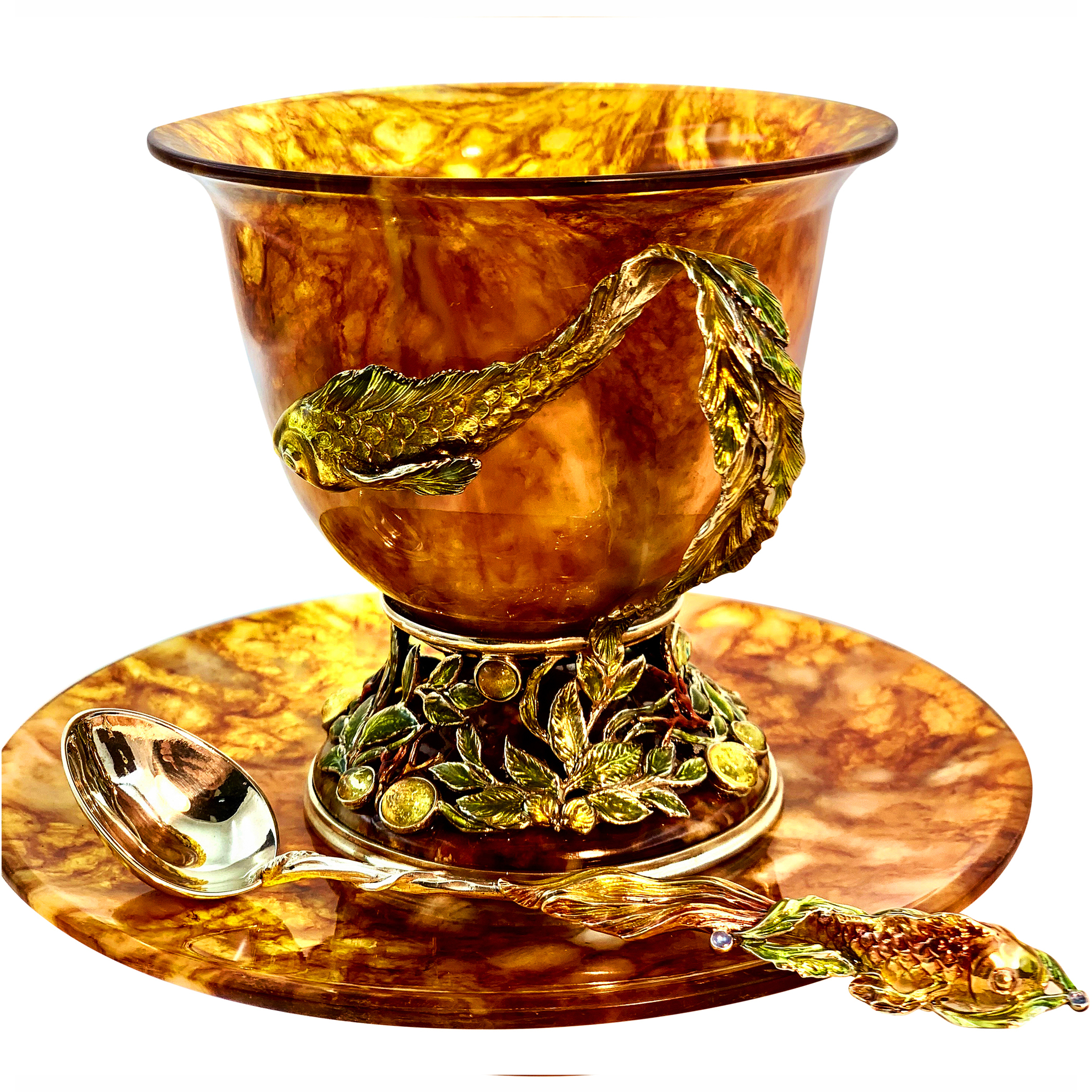 чайная пара из янтаря