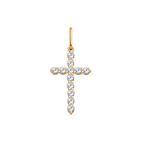 3151-Крестик с фианитами из золота 585 пробы