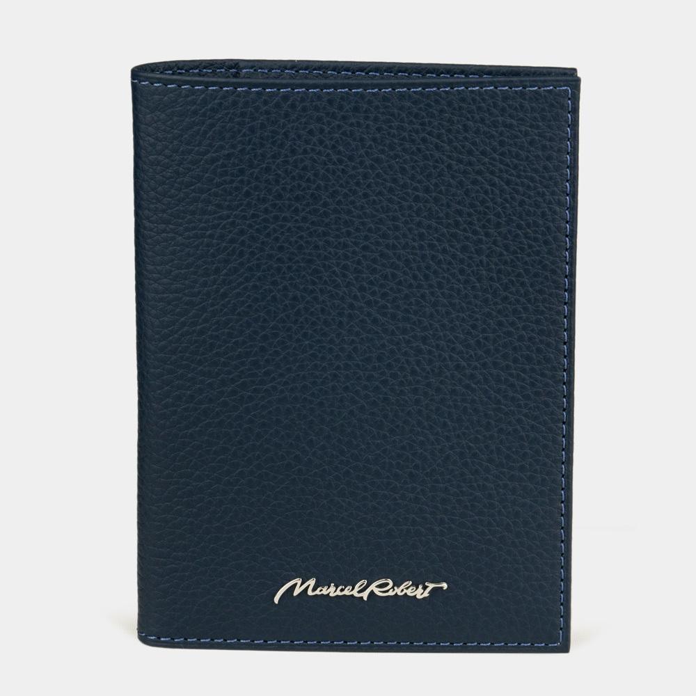 Обложка на паспорт и для автодокументов Paris Easy из натуральной кожи теленка, цвета синий мат