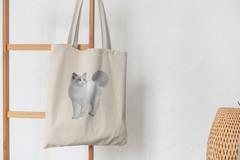 Сумка-шоппер с принтом Кот, Кошка, Котенок, Невская маскарадная (кошки) бежевая 008