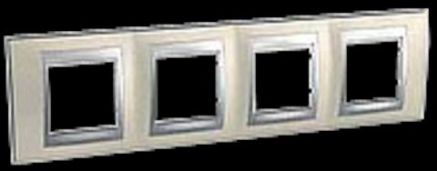 Рамка на 4 поста. Цвет Опал-алюминий. Schneider electric Unica Top. MGU66.008.095